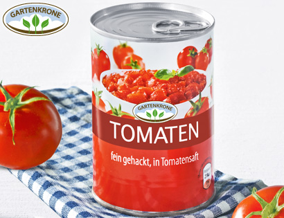 gartenkrone tomaten fein gehackt in tomatensaft von aldi s d. Black Bedroom Furniture Sets. Home Design Ideas