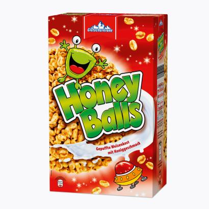 Honey Balls, gepuffer Weizen mit Honig, Februar 2012