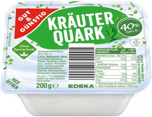 Kräuterquark, 40 % Fett i. Tr., Januar 2018