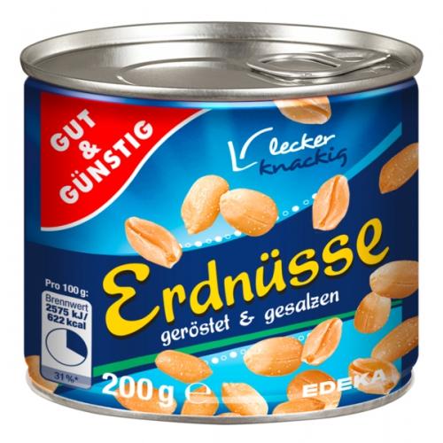 Erdnüsse, geröstet & gesalzen, Januar 2018