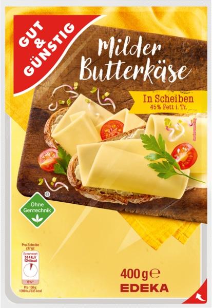 Butterkäse, in Scheiben, 45% Fett i.Tr., M�rz 2018