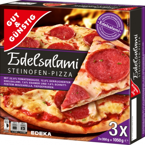 Steinofen Pizza Edelsalami, 3 Stück, Dezember 2017