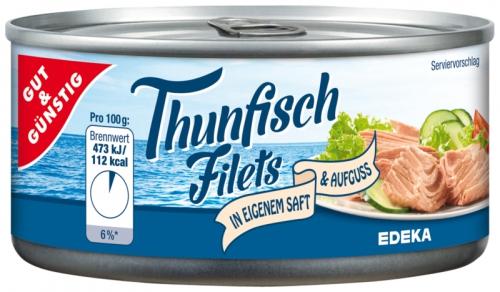 Thunfischfilets natur, ohne Öl, Dezember 2017