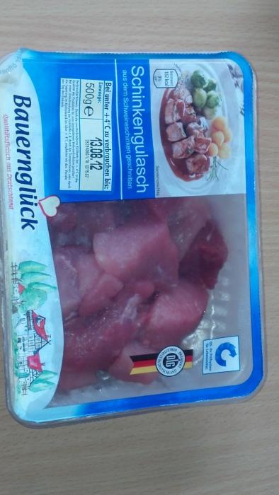 frisches Schinkengulasch  vom Schwein, August 2012