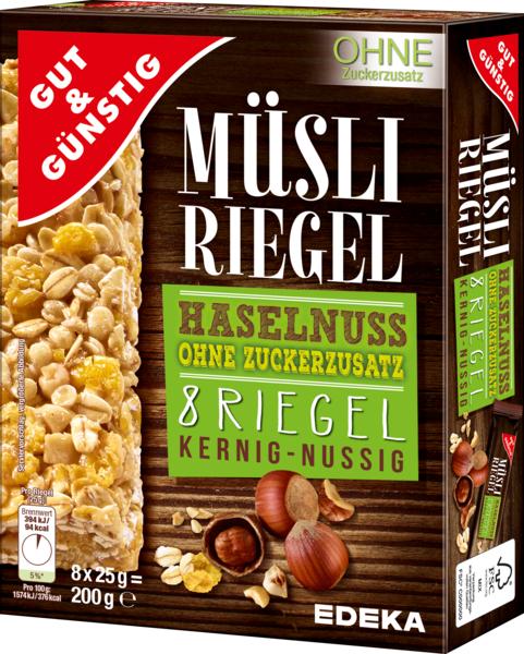 Müsli-Riegel Haselnuss, Dezember 2017