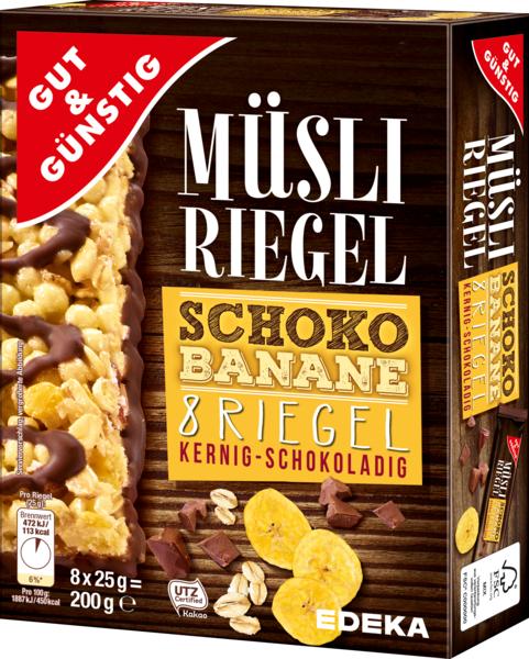 Müsli-Riegel Schoko-Banane, 8 Stück, Dezember 2017
