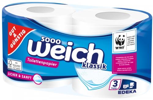 Toilettenpapier klassik 3-lagig, 200 Blatt, Dezember 2017