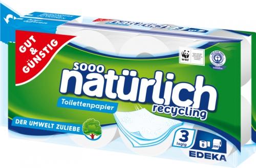 Toilettenpapier recycling 3-lagig, 200 Blatt, Dezember 2017