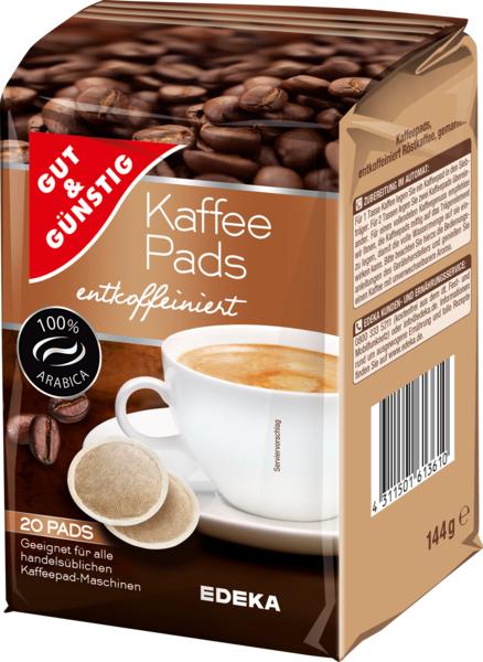 Kaffee-Pads entkoffeiniert, Januar 2018