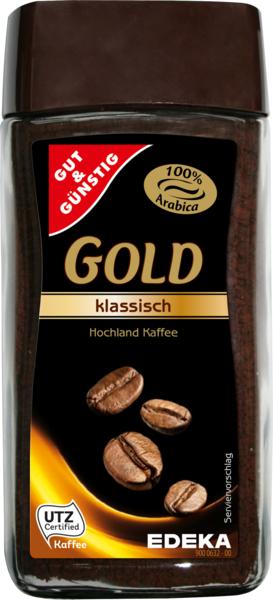Löslicher Kaffee Gold, aromatisch, Januar 2018