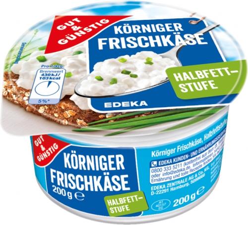 Körniger Frischkäse, Halbfettstufe, Januar 2018