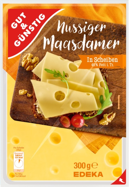 Maasdamer, 45% Fett i. Tr., in Scheiben, M�rz 2018