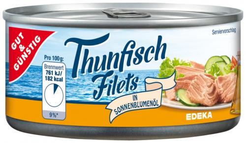 Thunfischfilets in Sonnenblumenöl, Dezember 2017