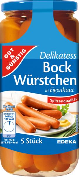 Saft-Bockwürstchen, 5 Stück, Dezember 2017