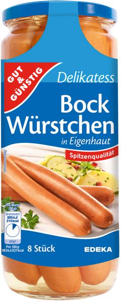 Saft-Bockwürstchen, 8 Stück, Dezember 2017