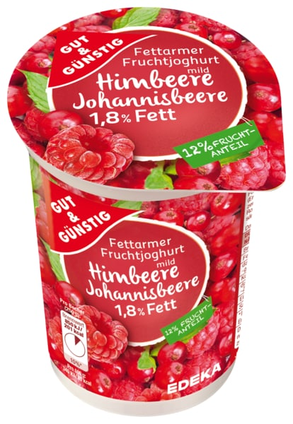 Fettarmer Fruchtjoghurt 1,8% Fett Johannisbeere, April 2018