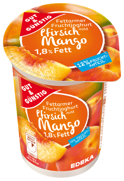 Fettarmer Joghurt 1,8 % Fett, Pfirsich-Mango, Januar 2018