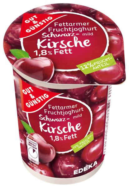Fettarmer Joghurt 1,8 % Fett, Schwarzkirsche, Januar 2018