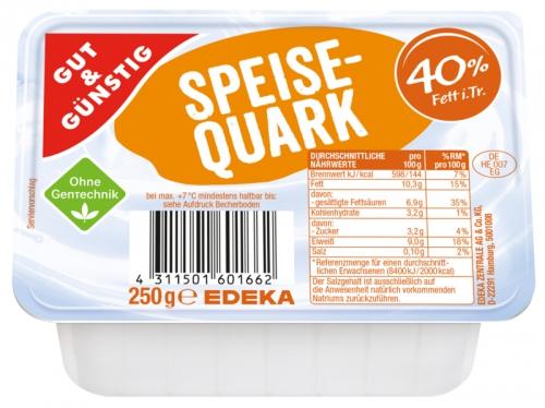 Speisequark, 40 % Fett i. Tr., Januar 2018