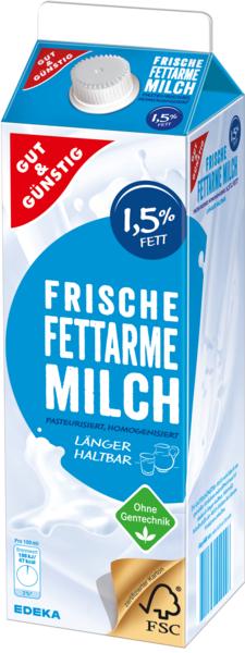 Frische Fettarme Milch 1,5 % Fett, länger haltbar, Januar 2018
