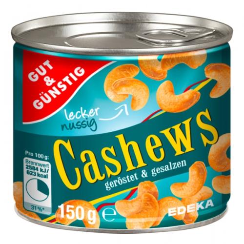 Cashews, geröstet & gesalzen, Januar 2018