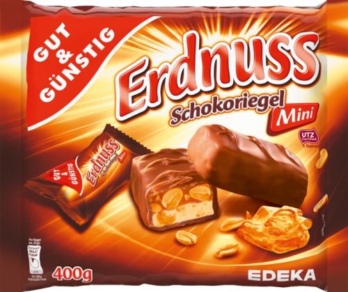 Mini Schokoriegel Erdnuss, Januar 2018