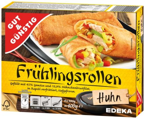Frühlingsrollen Huhn, 4x100 g, Dezember 2017