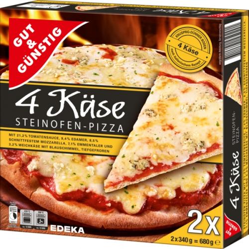 Steinofen Pizza 4 Käse, 2 Stück, Dezember 2017