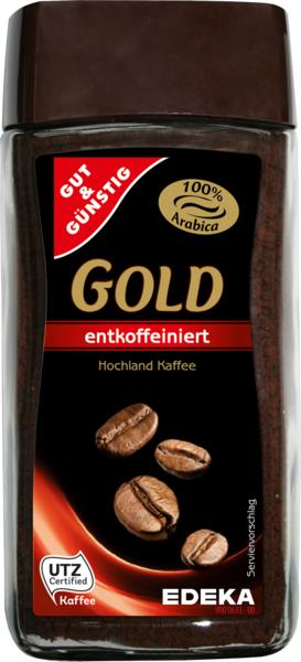 Löslicher Kaffee Gold, entkoffeiniert, Januar 2018