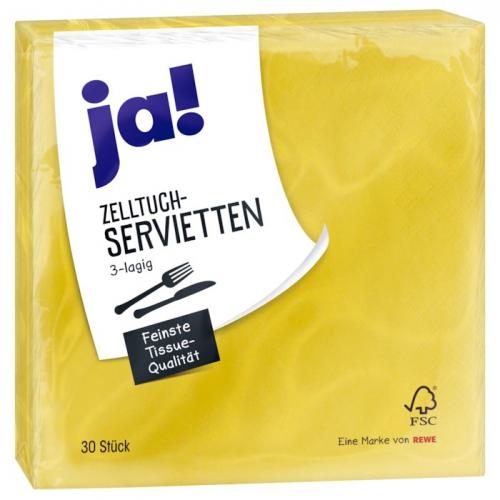Zelltuch-Servietten gelb, Dezember 2017