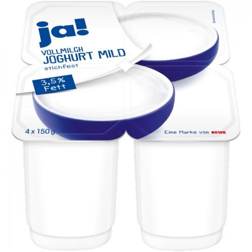 Vollmilch-Joghurt mild, 3,5 % Fett, 4 x 150 g, Mai 2017