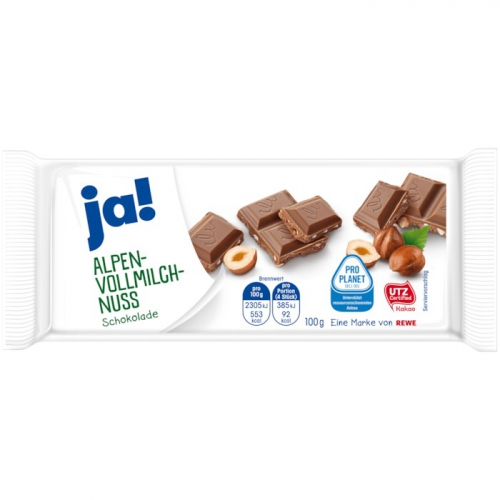 Schokolade Alpenvollmilch-Nuss, Januar 2018