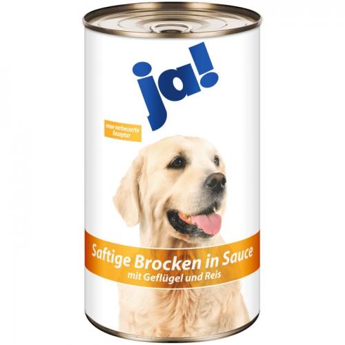 Hundefutter Saftige Brocken in Sauce mit Geflügel und Reis, Februar 2017