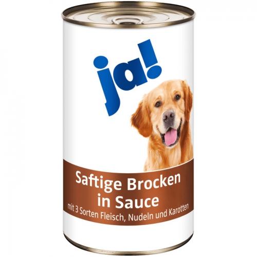 Hundefutter Saftige Brocken in Sauce mit 3 Sorten Fleisch, Nudeln und Karotten, Februar 2017
