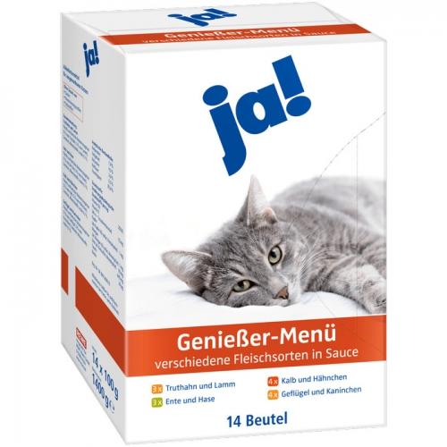 Katzenfutter Genießer-Menü - verschiedene Fleischsorten in Sauce, 14x100 g, Februar 2017