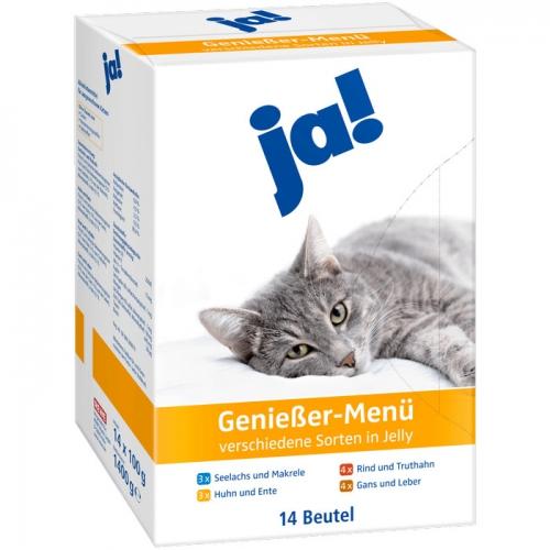 Katzenfutter Genießer-Menü - verschiedene Sorten in Jelly, 14x100 g, Februar 2017