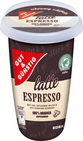 Kaffeedrink Latte Espresso, Januar 2018