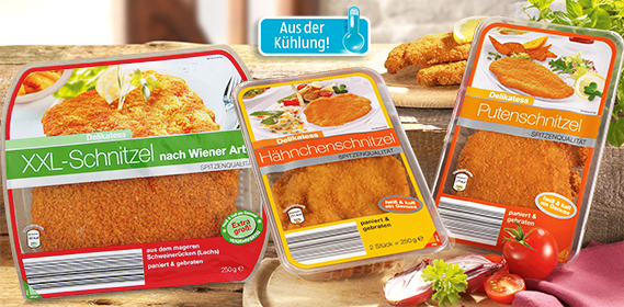 Schnitzel-Spezialität, paniert und gebraten, Januar 2013