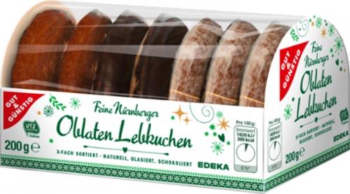 Nürnberger Oblaten Lebkuchen 3-fach sortiert, Januar 2018