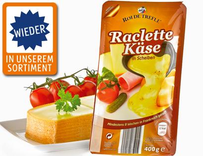 Raclette Käse, in Scheiben, September 2013