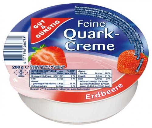 Feine Quarkcreme Erdbeere, Januar 2018