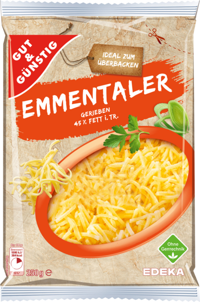 Emmentaler  45% Fett i. Tr., gerieben, Januar 2018