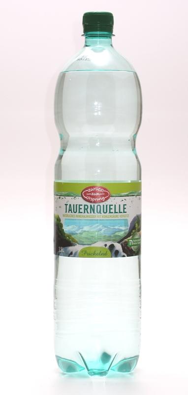Mineralwasser, prickelnd Tauernquelle, Januar 2012