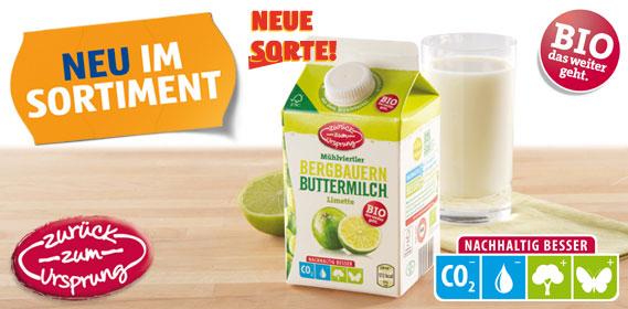 Bio-Bergbauern Butter- milch mit Frucht, Juli 2012