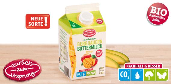 Bio-Bergbauern Butter- milch mit Frucht, Februar 2013