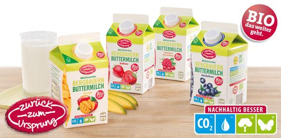 Bio-Bergbauern Butter- milch mit Frucht, Dezember 2013