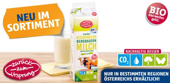 Bio-Bergbauern Milch 0,9 % Fett, länger frisch, Februar 2012