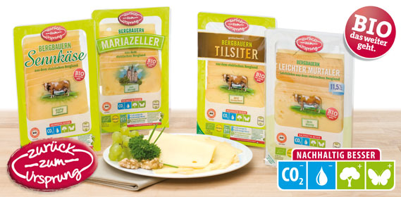 Bio Bergbauernkäse Mariazeller Käse in Scheiben, Februar 2012
